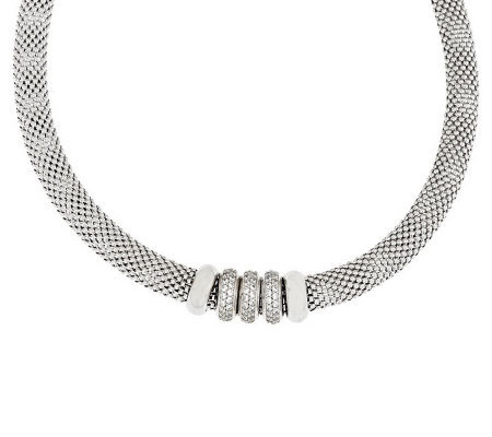 "Vicenza Silver Sterling 18"" Diamonique Rondel Mesh Necklace"