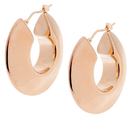 "Oro Nuovo 1-1/4"" Bold Knife Edge Round Hoop Earrings, 14K"