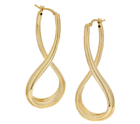 "Veronese 18K Clad 2"" Elongated Twist Hoop Earrings"