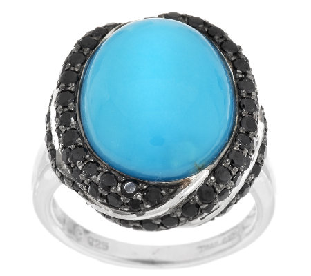 Oval Turquoise & 0.80 ct tw Pave' Black Spinel Sterling Ring