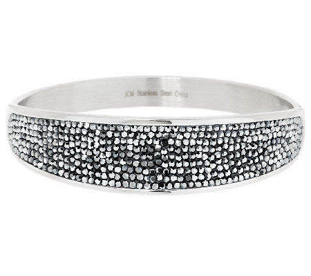 """As Is"" Steel by Design Crystal Pave Concave Design Bangle"