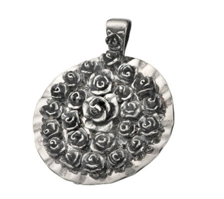 Or Paz Sterling Gathered Rose Pendant