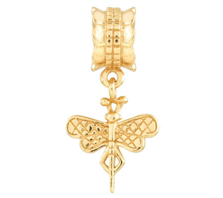 Prerogatives 14K Yellow Gold-Plated Sterling Dragonfly Bead