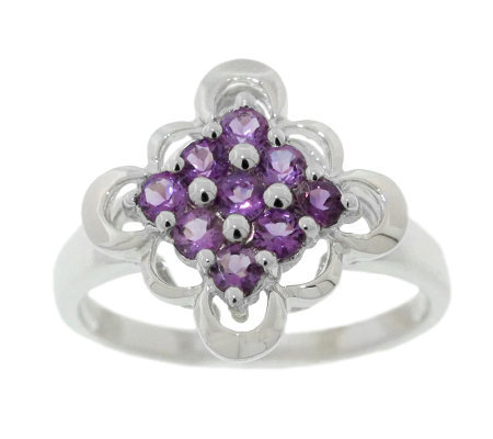 Sterling 0.50 ct tw Amethyst Scalloped-Edge Ring