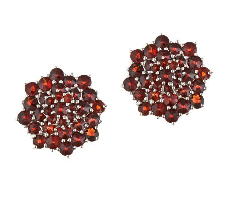 5.60 ct tw Round Garnet Cluster Earrings, Sterling