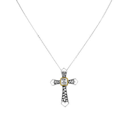 "Sterling 18"" Cable Chain with ""Bless Me Indeed""Cross Pendant"
