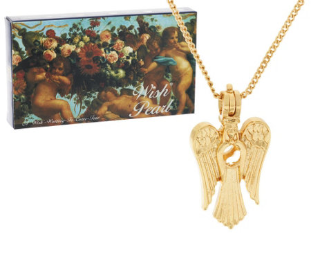 Wish Pearl Cultured Pearl Angel Pendant w/ Chain