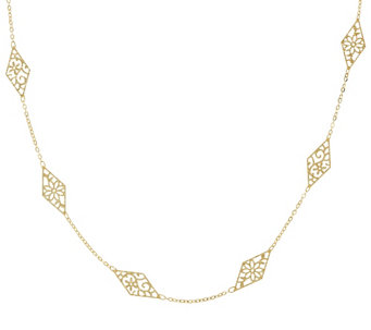 "Vicenza Gold 36"" Stationed Diamond Shape Necklace 14K Gold, 2.5g - J319385"