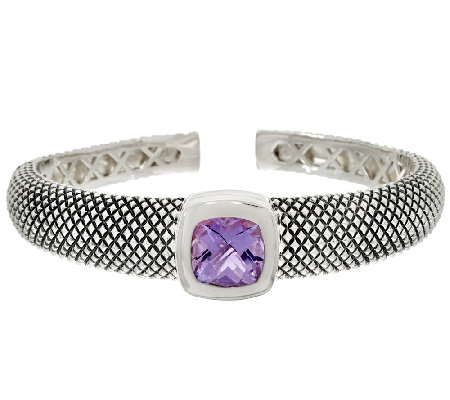 Michael Dawkins Sterling Crosshatch 4.00 ct wt Amethyst Cuff