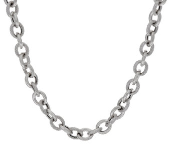"Vicenza Silver Sterling 20"" Textured & Polished Rolo Necklace, 37.0g - J320285"