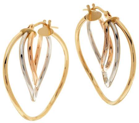 """As Is"" EternaGold Tri- color Twist Tube Hoop Earrings, 14K"