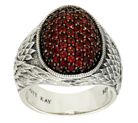 Scott Kay 1.40 cttw Pave' Garnet Guardian Angel Sterling Ring