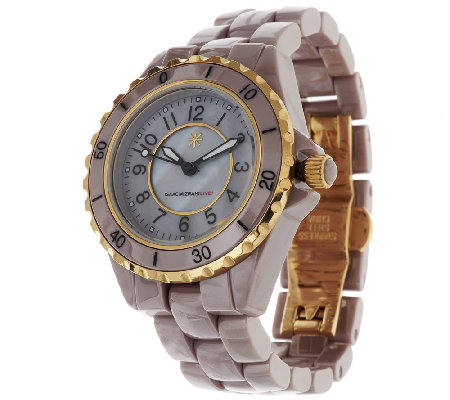 """As Is"" Isaac Mizrahi Live! Goldtone Ceramic Link Watch"