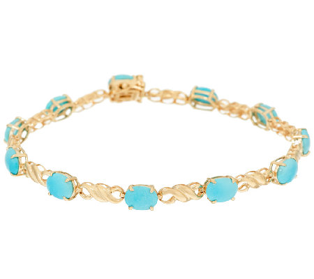 "Sleeping Beauty Turquoise 7-1/4"" Tennis Bracelet 14k Gold"