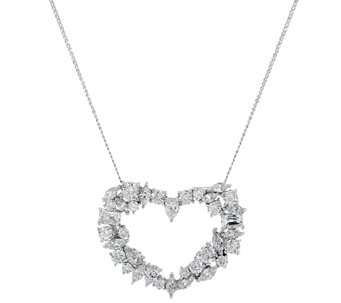 """As Is"" TOVA Diamonique Mixed Cut Heart Pendant w/Chain Sterling - J324485"