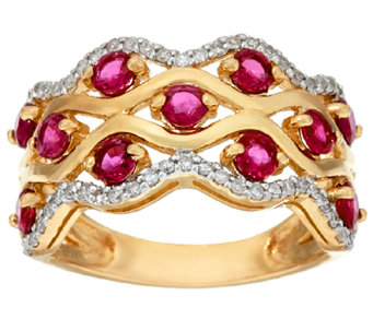 Exotic Gemstone & Diamond Wave Design Band Ring 14K Gold - J325085