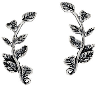 Sterling Silver Leaf Design Ear Climber Earrings by Or Paz - J325285
