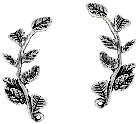 Sterling Silver Leaf Design Ear Climber Earrings by Or Paz