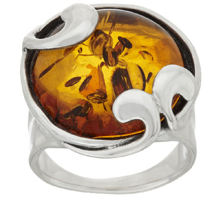 """As Is"" Hagit Sterling Silver Amber Swirl Ring"