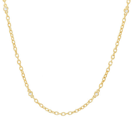 "Judith Ripka 14K Clad 20"" Textured Link Toggle Necklace"