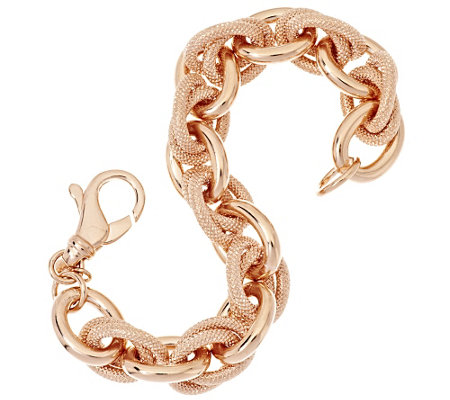 """As Is"" Bronze Textured Double Rolo Link Bracelet by Bronzo Italia"
