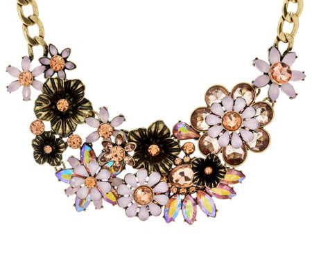 "Joan Rivers Opalescent Floral Garden 18"" Statement Necklace"