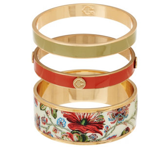 C. Wonder Set of 3 Floral Print & Solid Enamel Round Slip-on Bangles - J328885