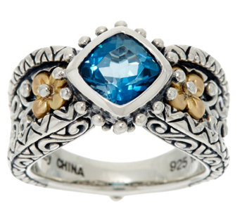 Barbara Bixby Sterling & 18K 1.30 ct London Blue Topaz Ring - J329285