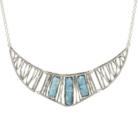 Or Paz Sterling Silver Roman Glass Statement Necklace