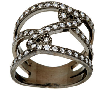 """As Is"" Vicenza Silver Sterling Diamonique Double Status Design Ring - J330085"