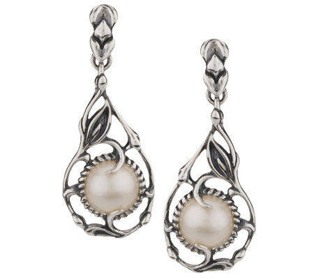 """As Is"" Carolyn Pollack Coronation Mabe Pearl Sterling Earrings"