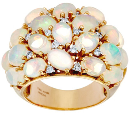 Ethiopian Opal & Diamond Bold Domed Ring 14K Gold 4.40 cttw