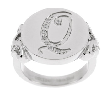 """As Is"" Stainless Steel Crystal Initial Ring - J331685"