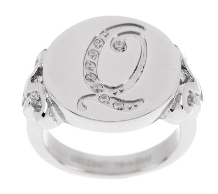 """As Is"" Stainless Steel Crystal Initial Ring"