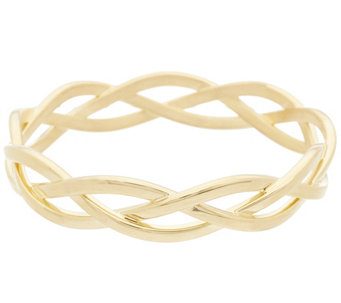 """As Is"" Oro Nuovo Polished Braided Round Slip-on Bangle Bracelet, 14K - J331785"