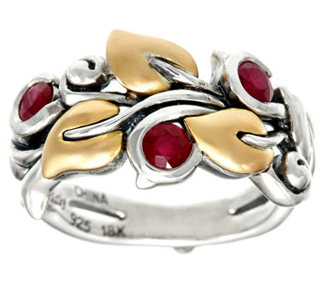 Barbara Bixby Sterling & 18K Precious Gemstone Vine Ring