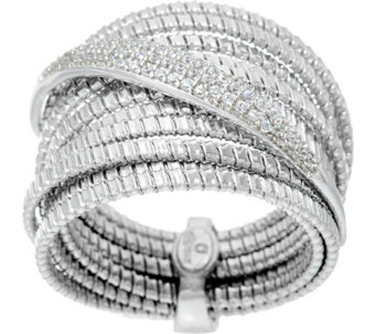 Vicenza Silver Sterling Pave Crystal Tubogas Ring - J332285