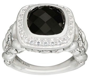 JAI Sterling Cushion Cut Black Onyx Croco Texture Ring - J332785