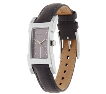 """As Is"" H by Halston Suede Watch with Adjustable Strap - J333985"