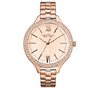 Caravelle New York Women's Rosetone Thin Bracelet Watch - J336585
