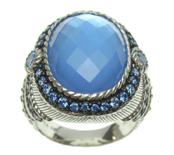Judith Ripka Sterling Blue Doublet & Blue Diamonique Ring - J337485