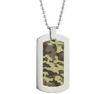 Stainless Steel Dog Tag Pendant with CamouflageDesign - J337885