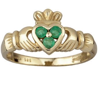 Solvar Emerald Heart Claddagh Ring, 14K Gold - J337985