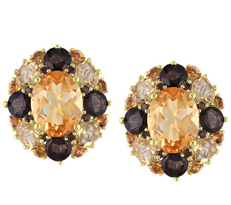 6.65cttw Oval Citrine & Smoky Quartz Earrings