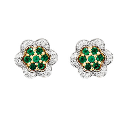 Choice of Gemstone & Diamond Flower Earrings, 1 4K Gold