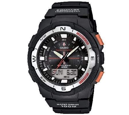 Casio Men's Twin Sensor Analog-Digital Orange-Accented Watch