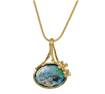 "Sterling 14K-Plated Roman Glass Pendant, 18""L Chain by Or Paz"