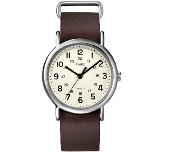 Timex Unisex Weekender Brown Slip Through StrapWatch - J339685