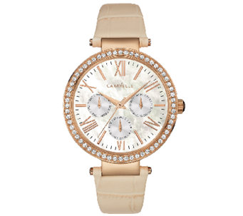 Caravelle New York Women's Crystal-Accented TanLeather Watch - J339785