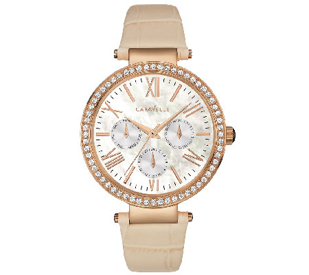 Caravelle New York Women's Crystal-Accented TanLeather Watch